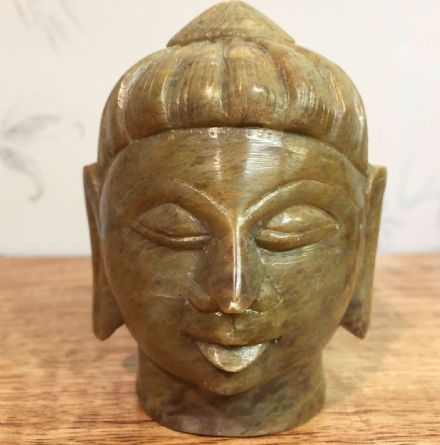 Indian Soapstone Hand Carved Medium Buddha Head in Soft Green